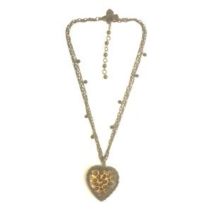 Betsy Johnson Cheetah Heart Statement Necklace
